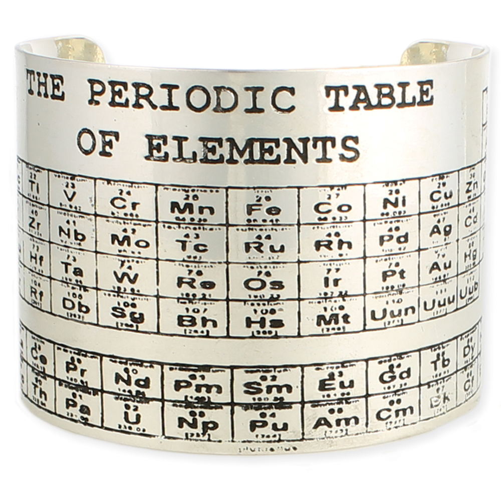 Periodic table of elements silver cuff bracelet.