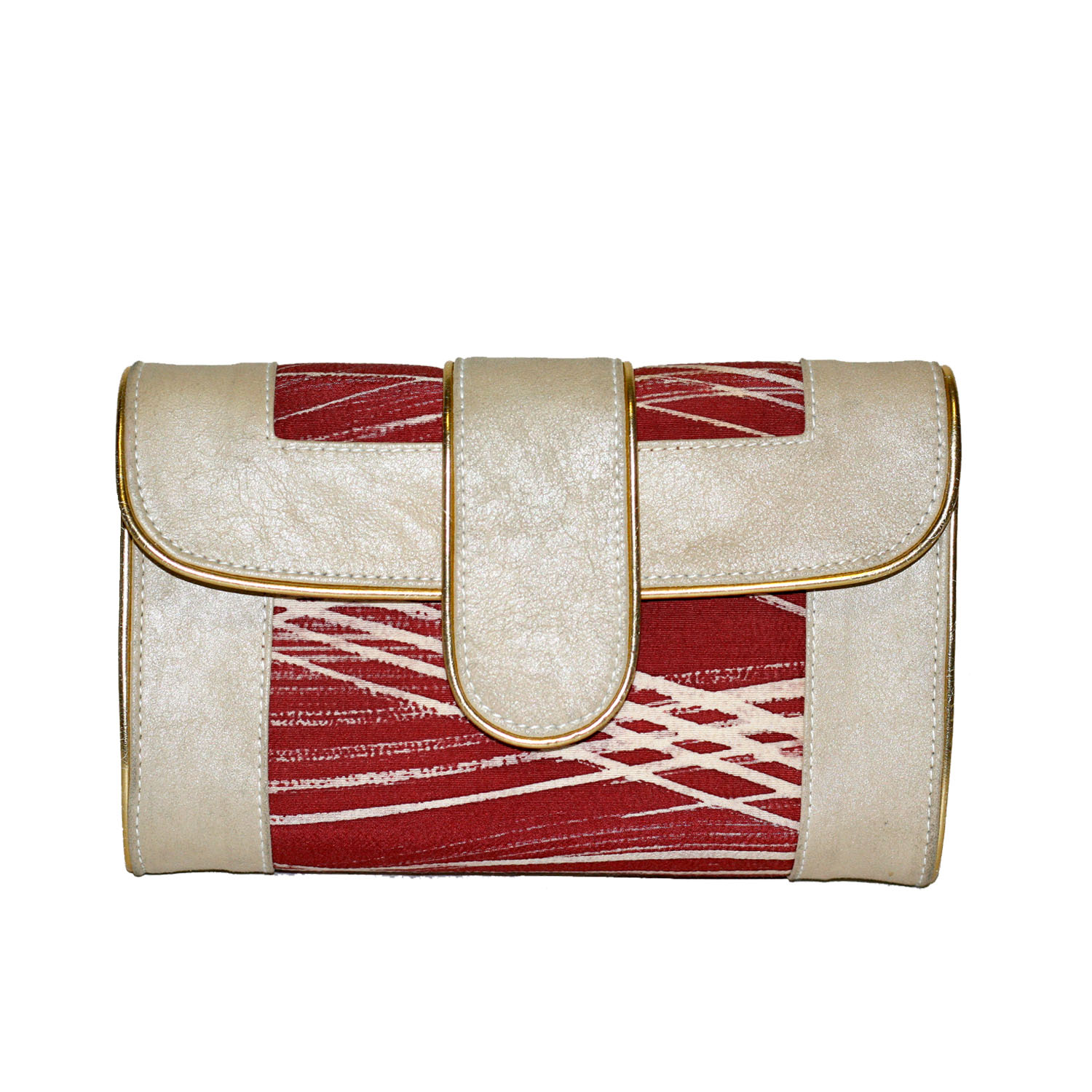 off white and burgundy clutch/crossbody