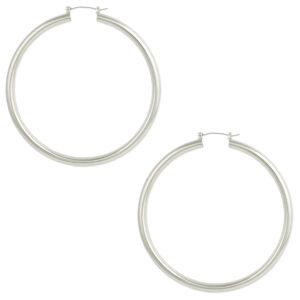 Oversized silver hoop earrings (50mm)