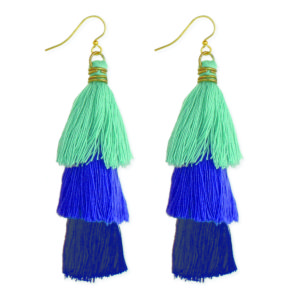 This image features multi-colored fringe earrings in navy blue, purple and green.