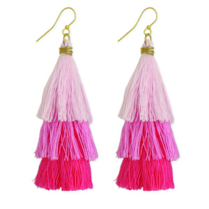 This image features pink multi-colored fringe earrings in light pink, dark pink and fucshia.