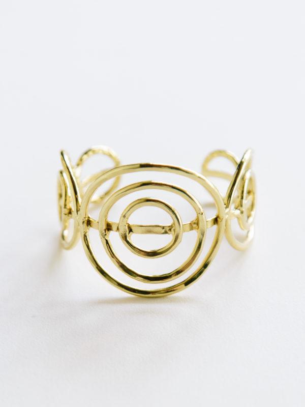 gold spiral adjustable cuff bracelet