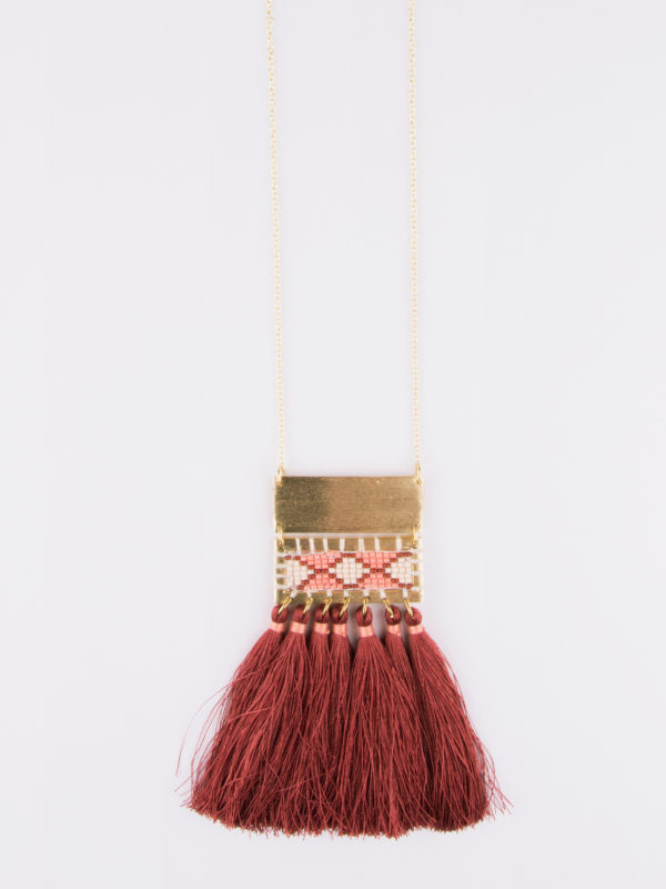 boho tassel long necklace rose color