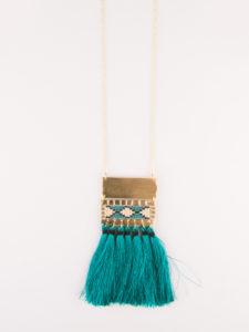 boho tassel long necklace teal