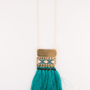 boho tassel long necklace teal