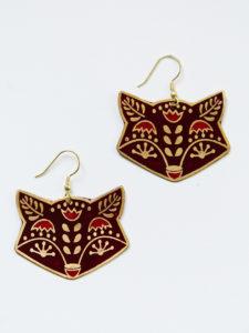 fox trot earrings in burgundy