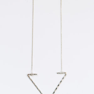 open arrow necklace in silver-long