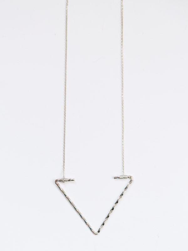 open arrow necklace in silver-long