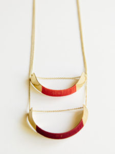 gold plated threaded helix necklace in burgundy