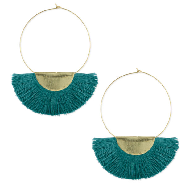 gold plated hoop earrings with teal fan fringe