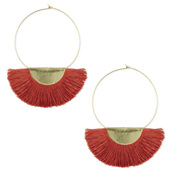 gold hoops with red fan fringe