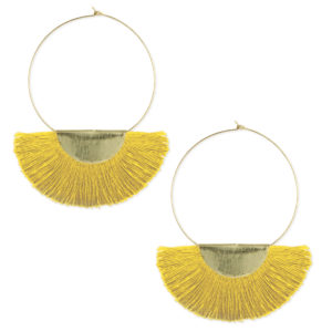 gold hoops with yellow fan fringe