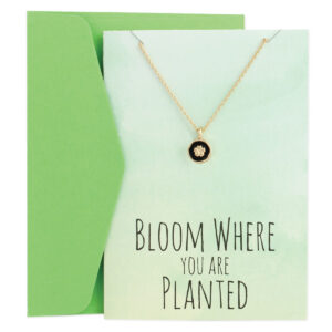 greeting card with flower necklace