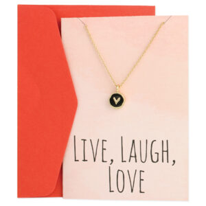 greeting card with gold heart necklace