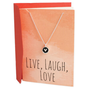 Silver necklace with heart charm and greeting card that says Live, Laugh, Love.