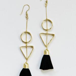 gold earrings with suede black tassels