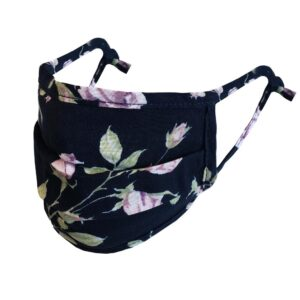 Black floral 3D mask with filter pocket. Adjustable ear straps.